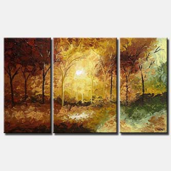 brown triptych forest