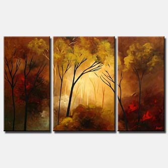triptych abstract landscape forest