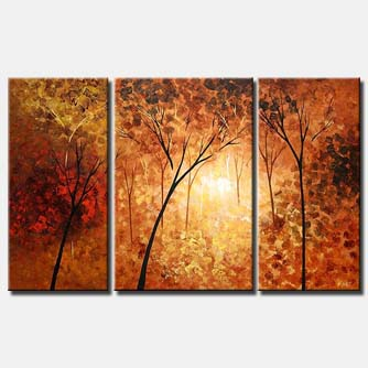 brown forest home decor monochromatic triptych