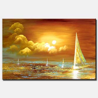 sail boats ocean painting sunrise