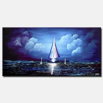 sailing boat on blue clouds background