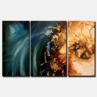 triptych abstract art blue shine