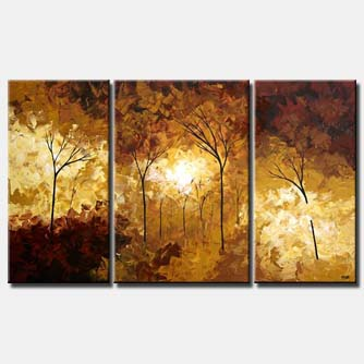 brown yellow forest landscape triptych