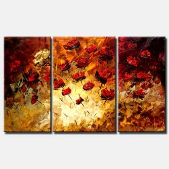 multi panel canvas floral summer triptych