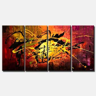 red yellow splash painting colorful multi panel