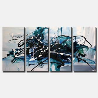 large blue abstract painting multi panel