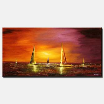 sail boats landscape painting sunset