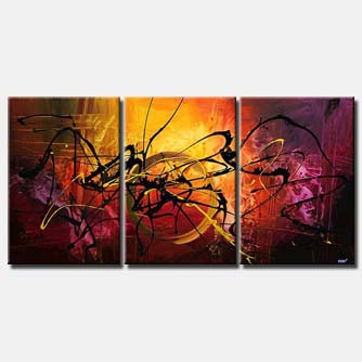 triptych splash abstract art colorful