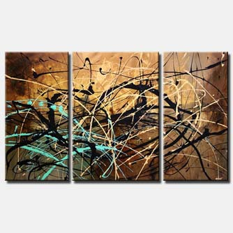 splash abstract art triptych wall decor