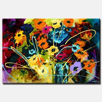 abstract floral painting colorful summer decor