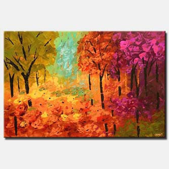 mystical forest painting colorful summer trees