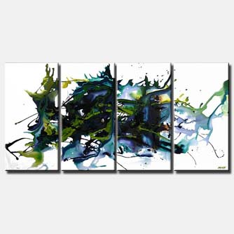 multi panel abstract contemporary painting splash