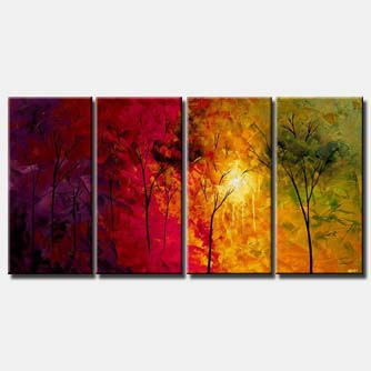 multi panel canvas forest colorful trees