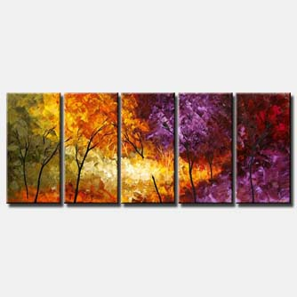 multi panel canvas emerald forest colourful