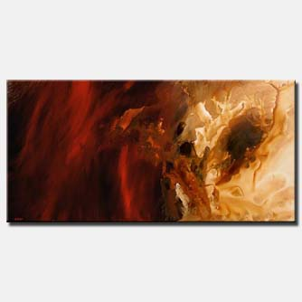 large red and beige abstract painting soft