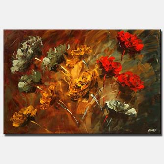 smell of roses abstract floral painting