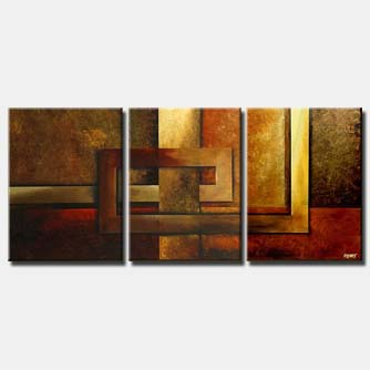 geometrical painting triptych wall decor