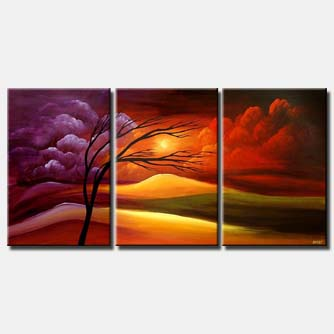 fields of promise triptych landscape colorful