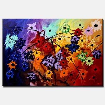 abstract landscape painting colorful large