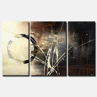black and white abstract painting triptych