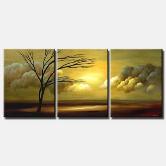sunrise landscape painting triptych tree clouds
