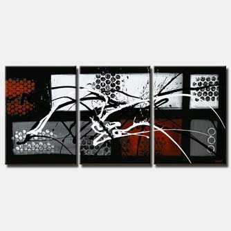 abstract painting black white red triptych
