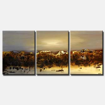 large abstract painting triptych landscape