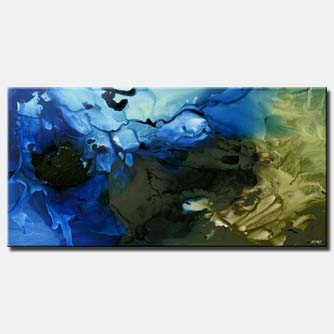 blue abstract painting green reef decor