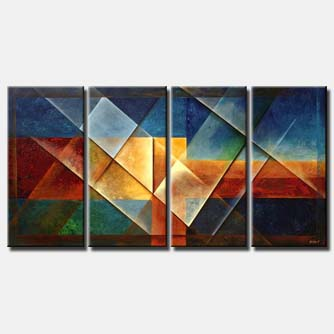 modern geometrical painting multi panel