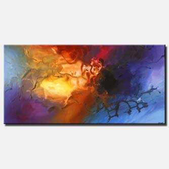 large colorful painting home decor time