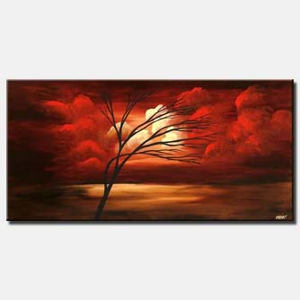 red clouds painting horizontal tree