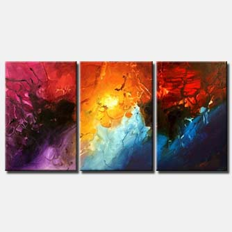 large colorful abstract art triptych