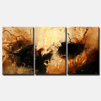 brown beige abstract painting triptych