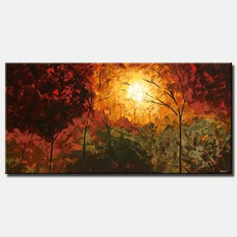 abstract glow landscape painting forest