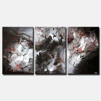 triptych large modern painting gravity soft
