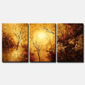 yellow brown forest painting triptych
