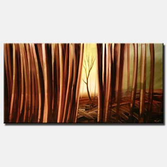 brown forest trunks landscape painting