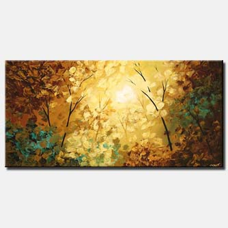 abstract sunrise painting shine trees