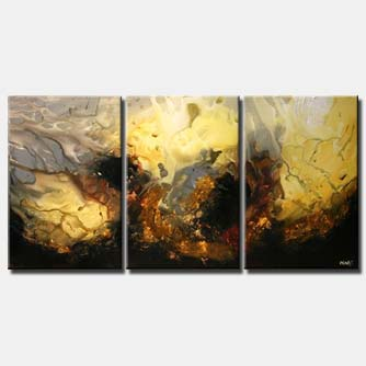 modern painting triptych earth tones