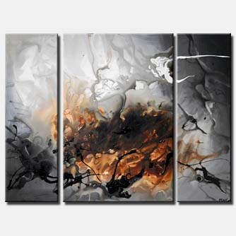gray abstract art triptych clouds white