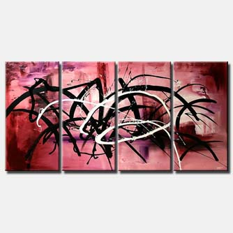 pink abstract painting multi panel splash
