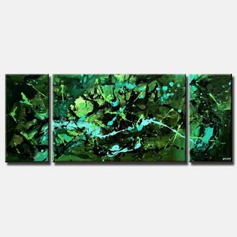green modern painting triptych  wall decor