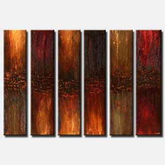 large brown rusty modern painting vertical