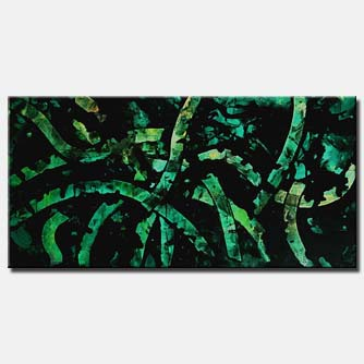 abstract art green black modern decor