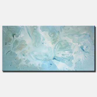 vertical abstract painting soft blue
