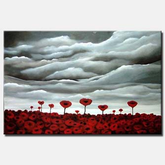 field of poppy flowers