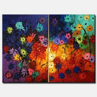 diptych colorful flowers painting floral