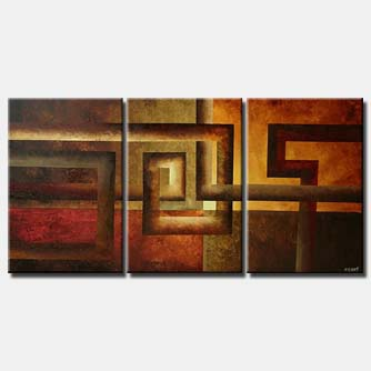large geometrical painting triptych art