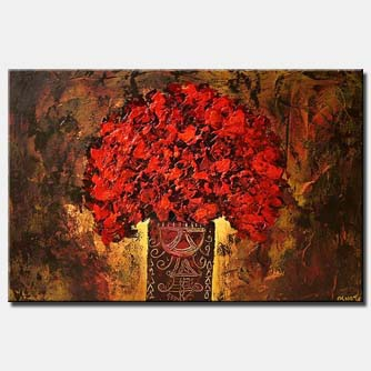 red flowers in vase abstract painting