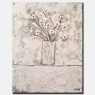 white flowers in vase abstract painting